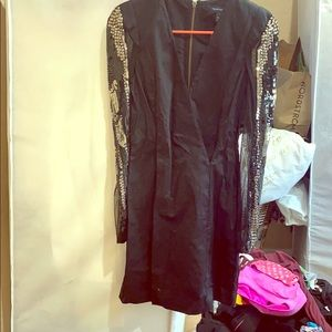 French connection beaded sleeve black dress size 6